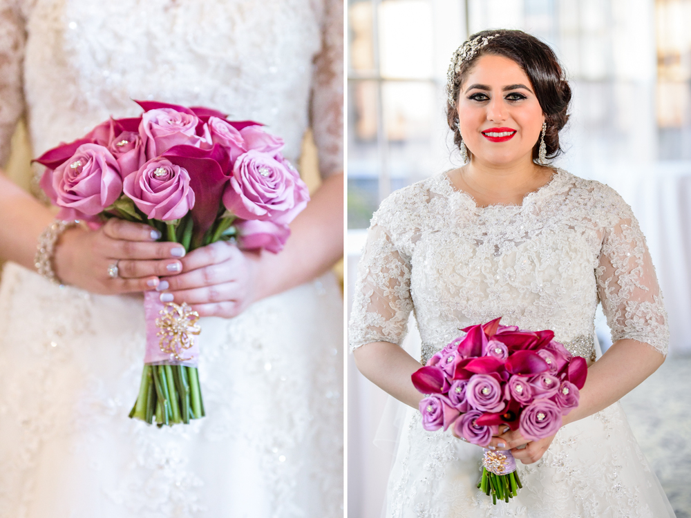 pink bridal bouquet arabic muslim wedding Fairmont San Francisco