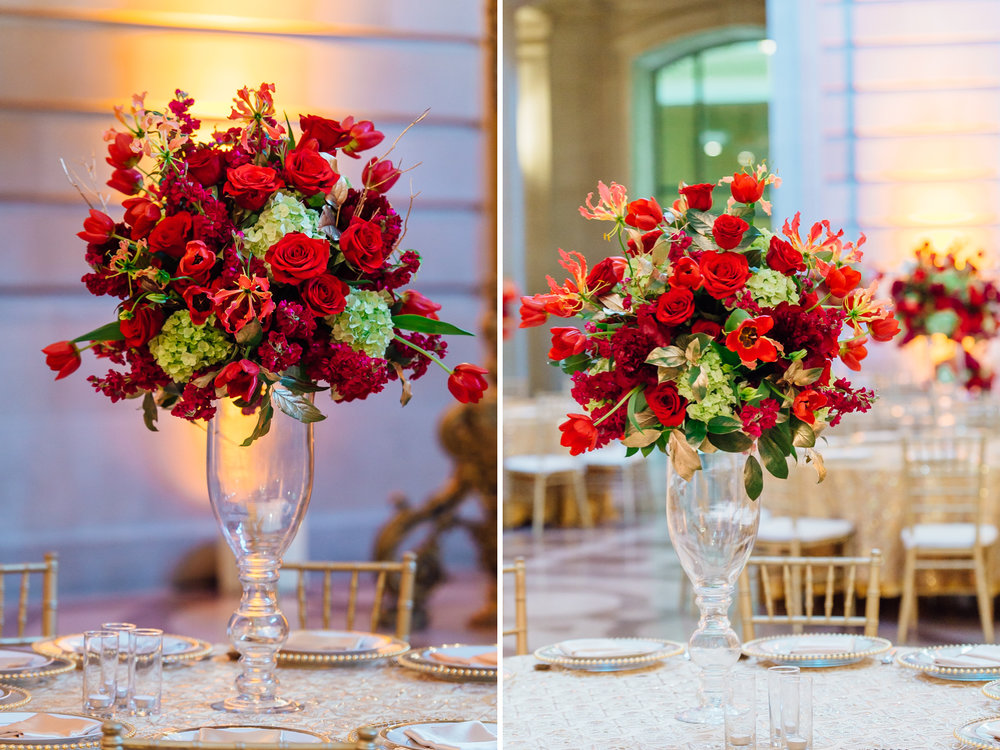 Red centerpieces at San Francisco city hall