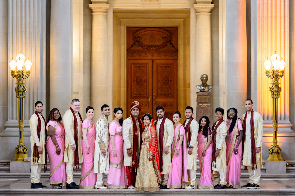 Indian bridesmaids and groomsmen