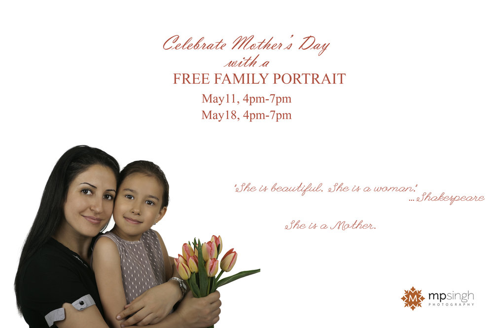 Celebrate Mother's Day  - An invitation for complimentary family picture on Mother's Day