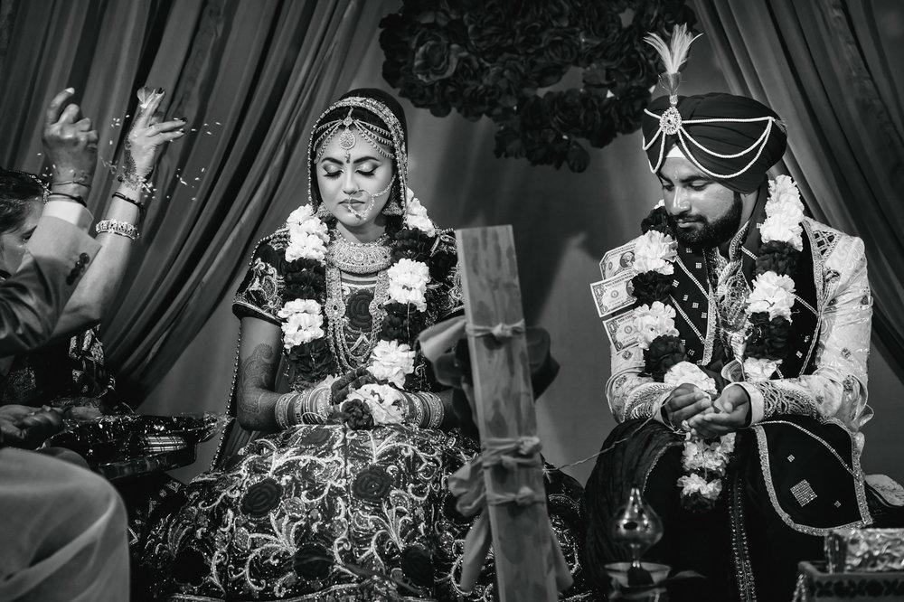 Indian Wedding Ceremony Rice Throw