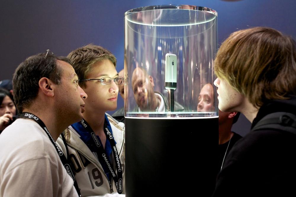 An iPhone prototype on display at MacWorld 2007. ©James Duncan Davidson