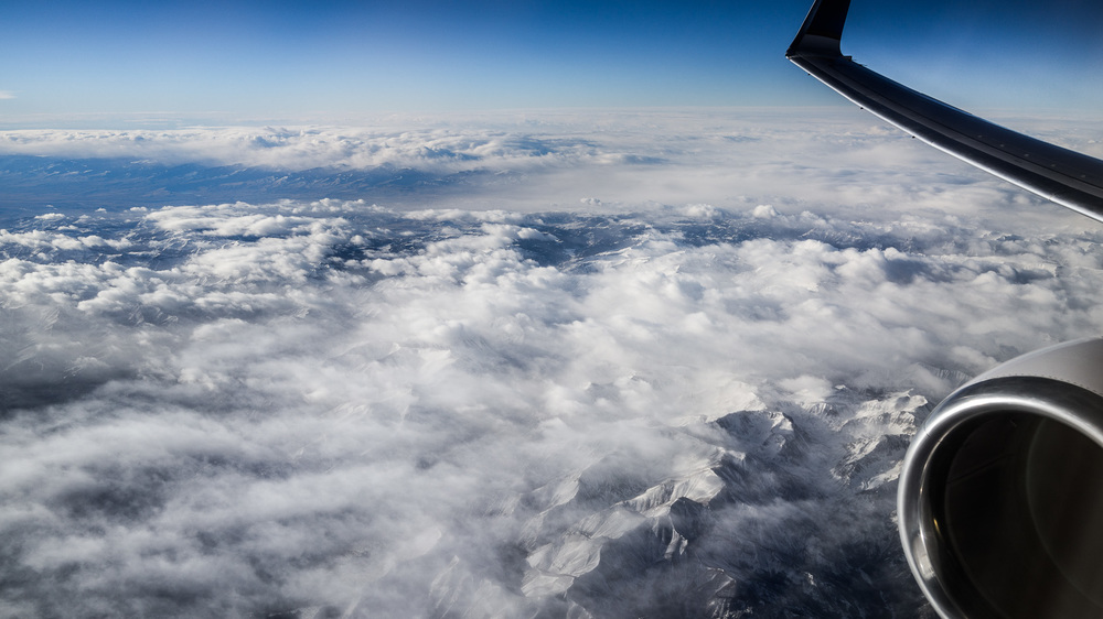 Above and cloud covered mountains in the northern United States