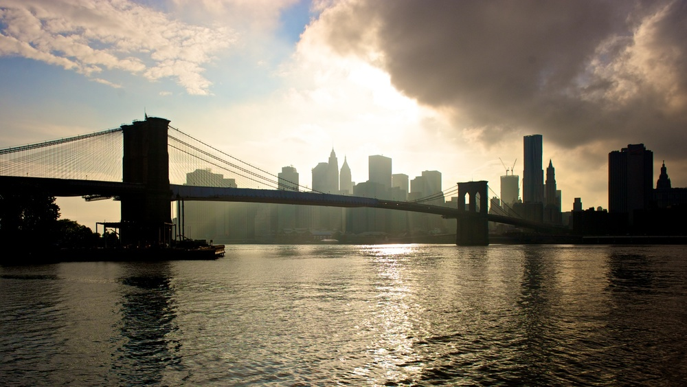 The Brooklyn Bridge across the East River in New York, May 2011.
