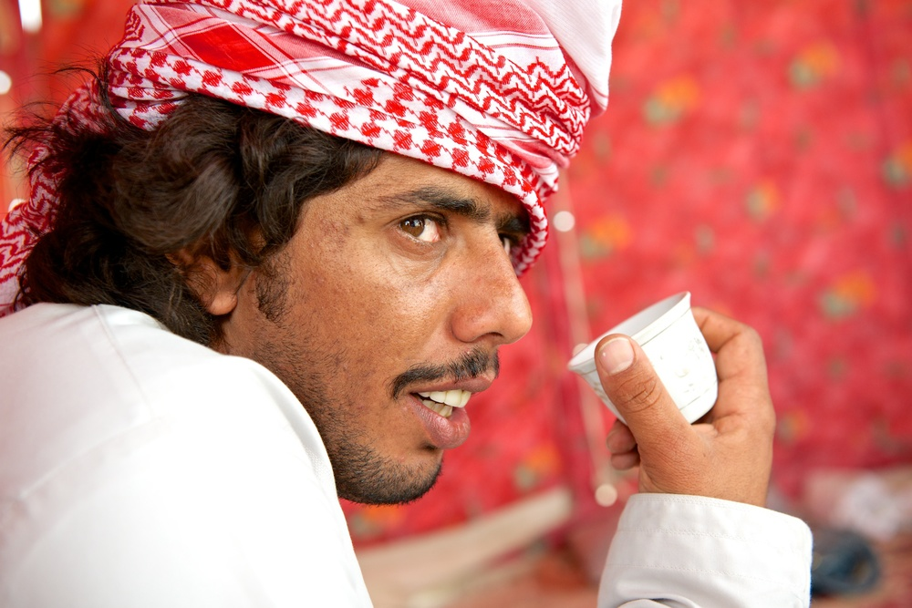 A Bedouin from Oman in his tent near Doha, Qatar, April 2012.