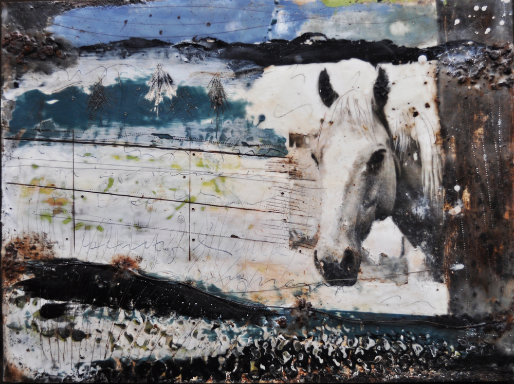 palomino winter   encaustic mixed media 18 x 24 inches 2014 SOLD