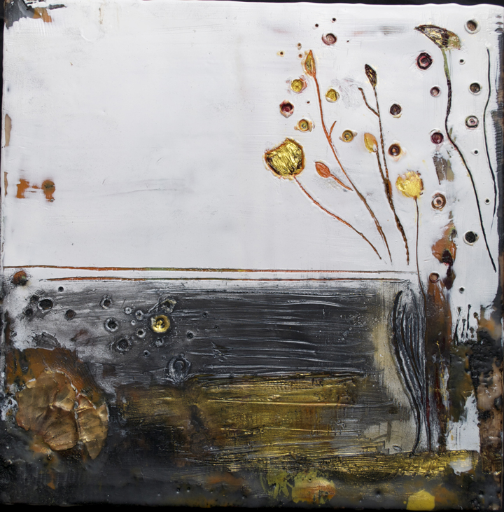 untitled  encaustic mixed media 8 x 8 inches SOLD