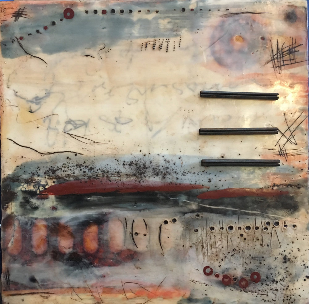 revival   encaustic mixed media 12 x 12 inches