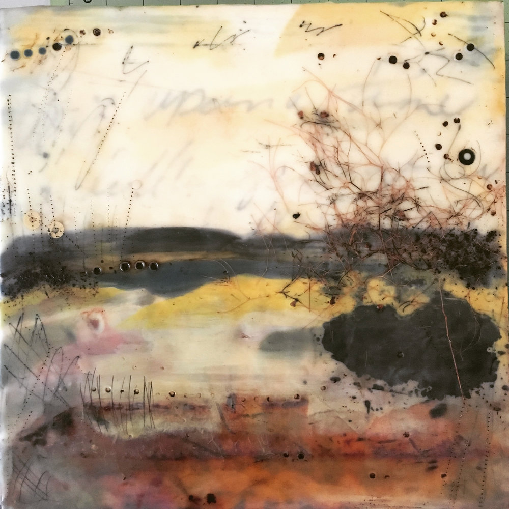 release   encaustic mixed media 12 x 12 inches 2017 SOLD