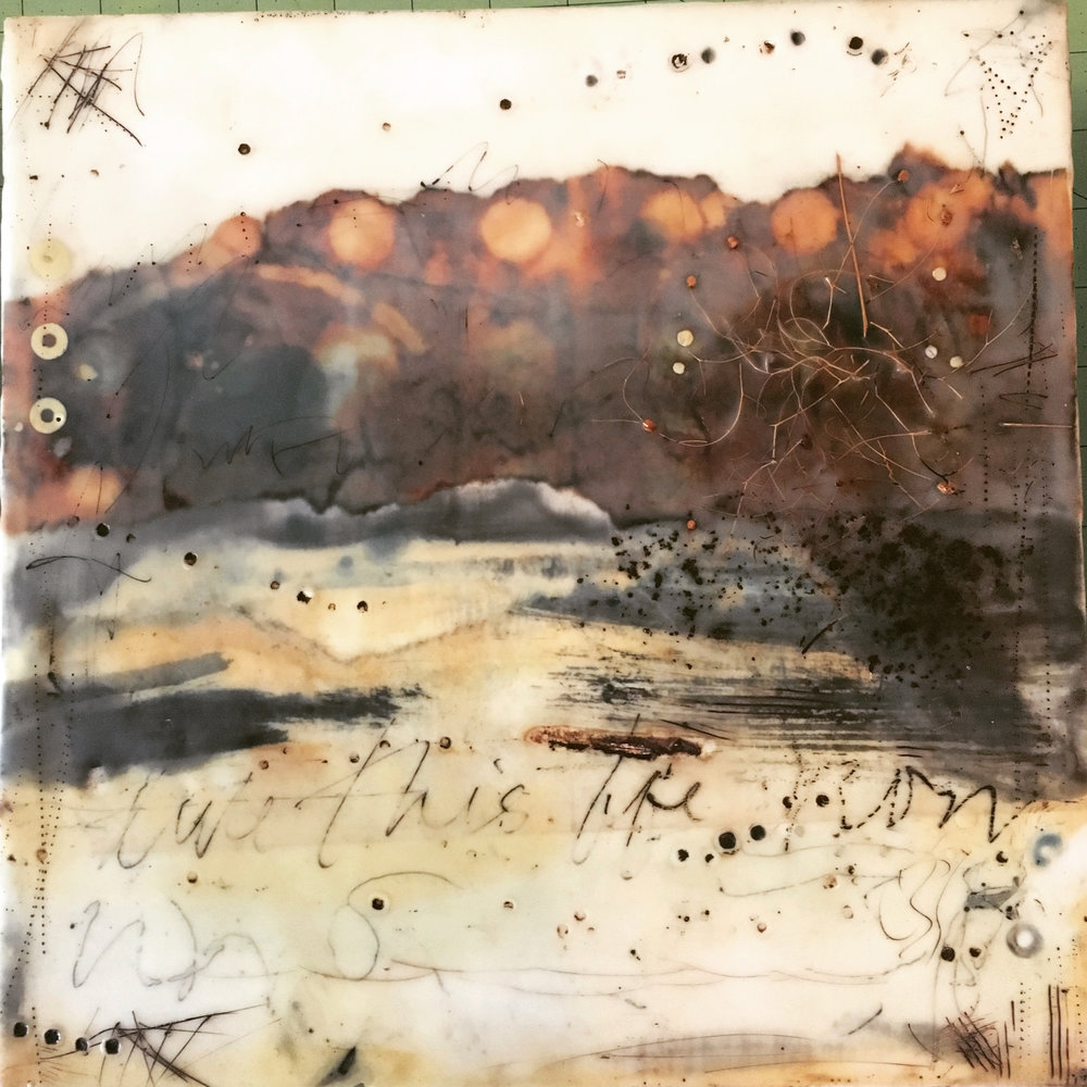 relent   encaustic mixed media 12 x 12 inches 2017 SOLD