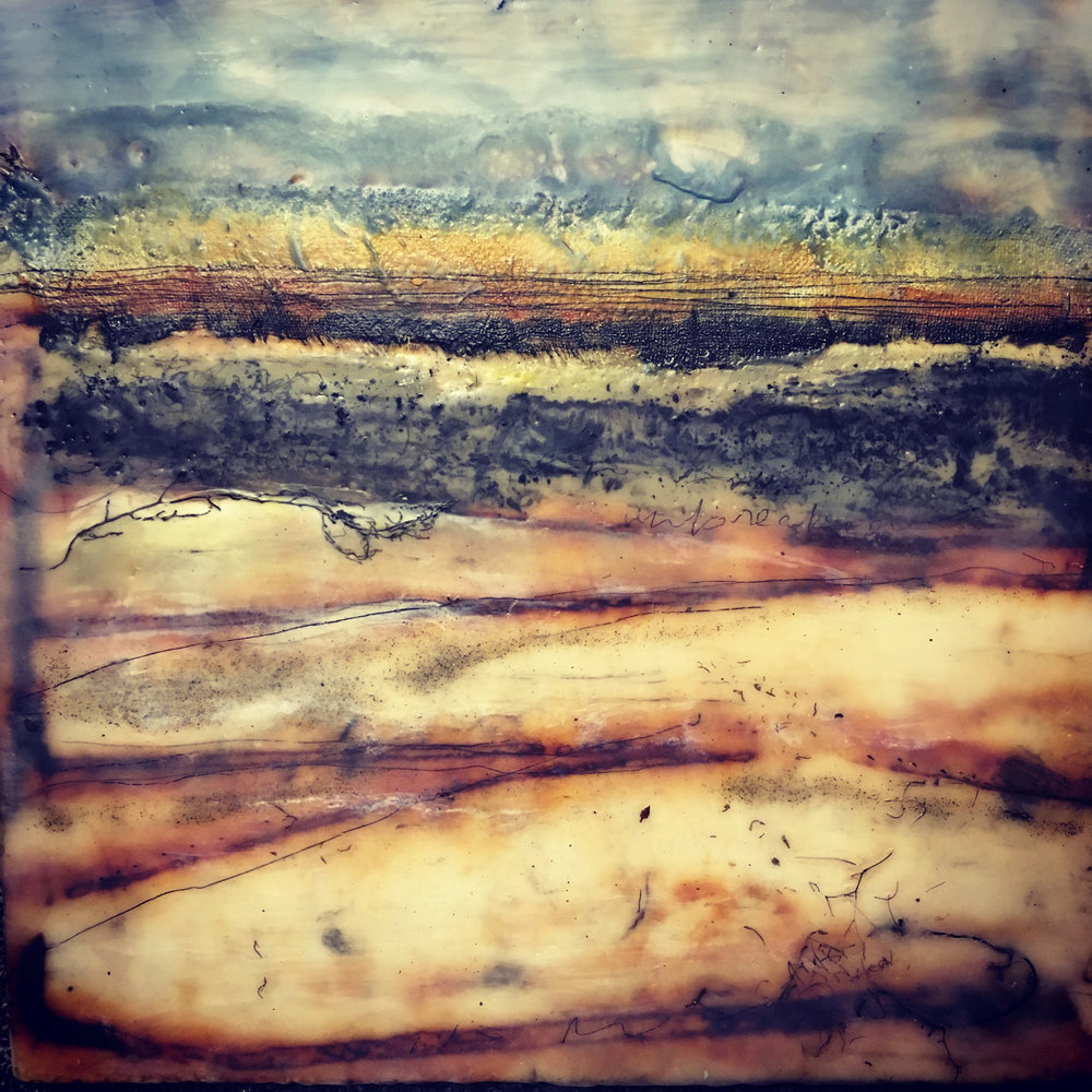 sundown   encaustic mixed media 12 x 12 inches 2016 SOLD
