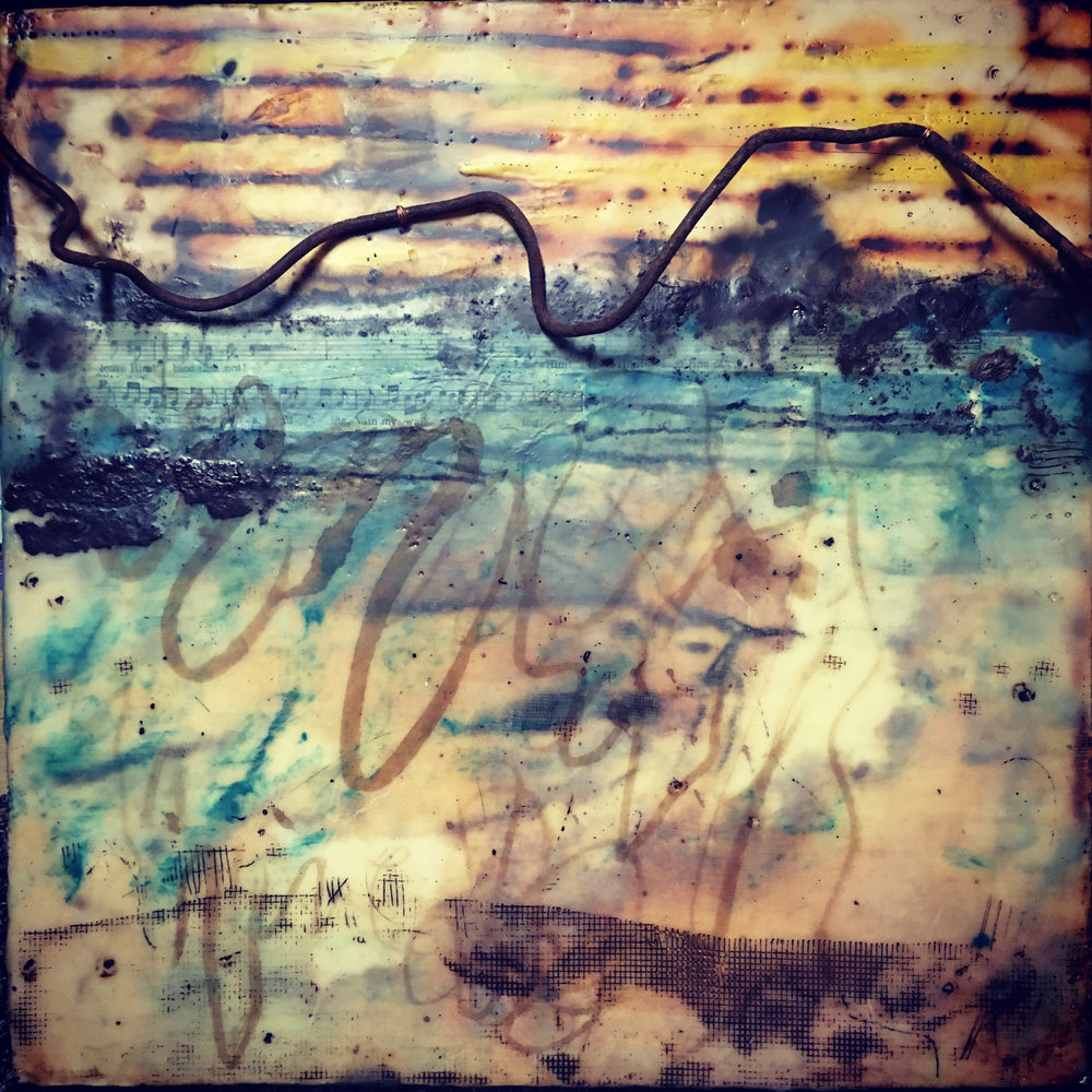 chasing the sunset   encaustic mixed media 12 x 12 inches 2017  SOLD