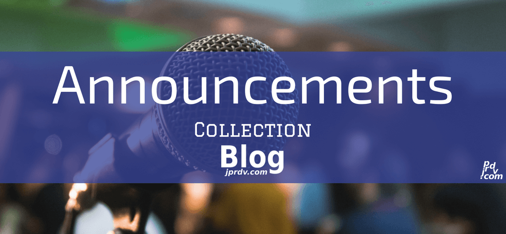 Announcements jprdv.com Blog Collection