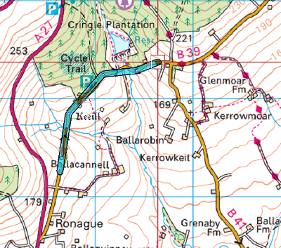 One way order is in the direction of Foxdale to Ronague (i.e. South Westerly)