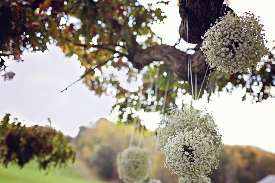 I loved the baby's breath kissing balls that they had swaying in the old oak tree that Sean and Maggie took their vows under.