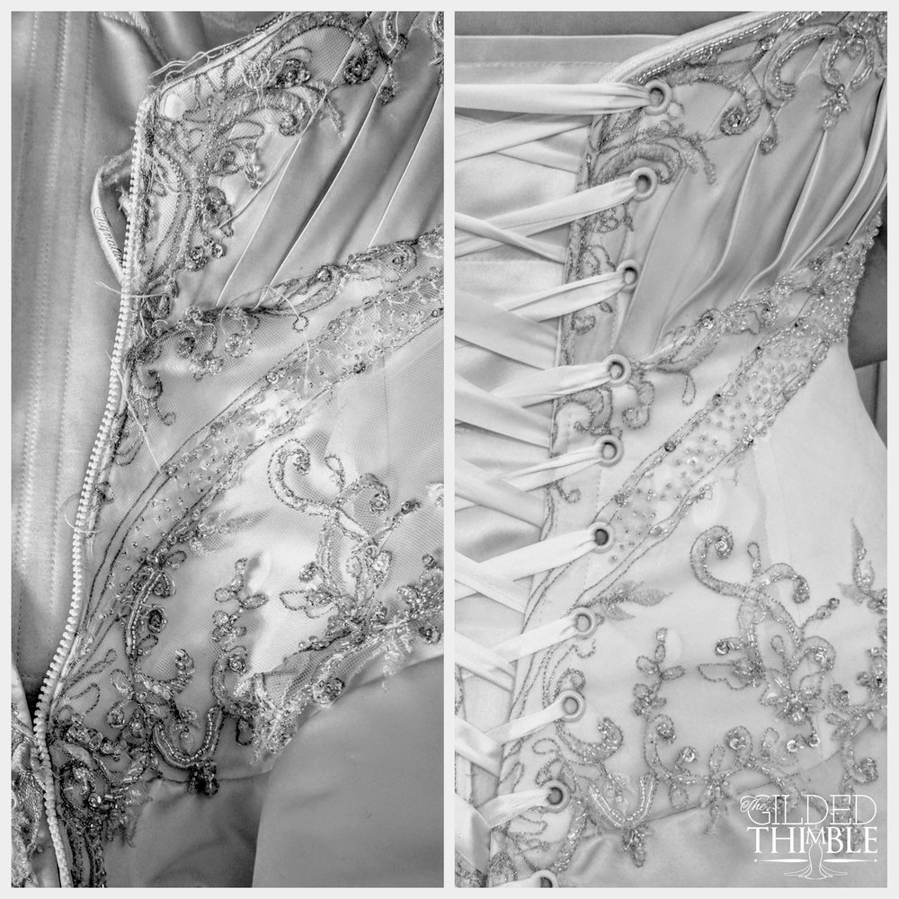A heavily damaged, too-small sample gown can become a perfectly fitted work of art.