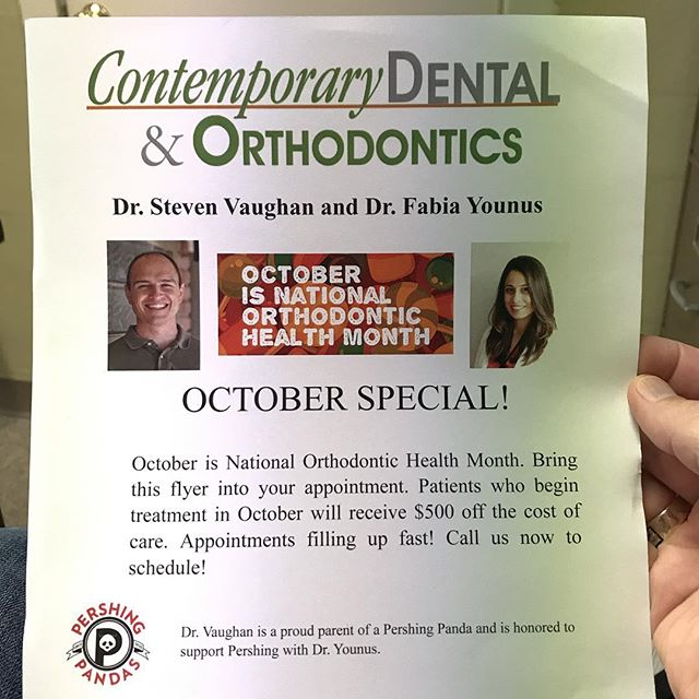It was great to visit with some of the families at @pershing_ms the other night during #openhouse. October is National Orthodontic Health Month and we are running a special to help get kids into braces. Call or stop by to schedule a consult with Dr. Younus. @pershingmspto #smile #braces #invisalign #dental #htx #bellaire #westu #pershingpandas #dontforgettobrushyourteeth