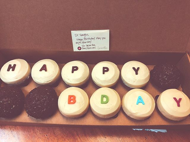 Birthday goodness continues to roll in... Thanks to Dr. Koo and staff at #pineypointoralsurgery for the delish cupcakes! #dontforgettobrushyourteeth #htx #bellaire #westu