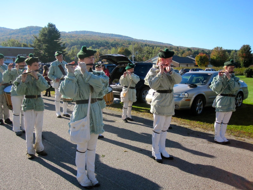 Parade prep - Corp practicing Battle Hymn & Harriott.JPG