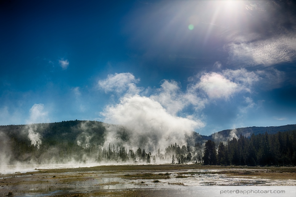 Firehole Drive - Cloud of fog over meadow