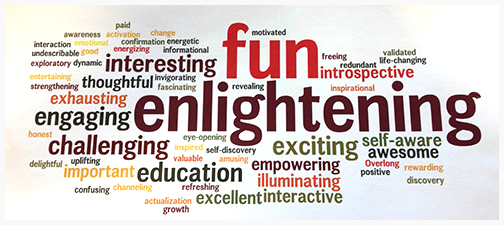 wordle based on how many times each word appeared when a cohort of FC students each wrote  five words that describe the FC –– May 2013