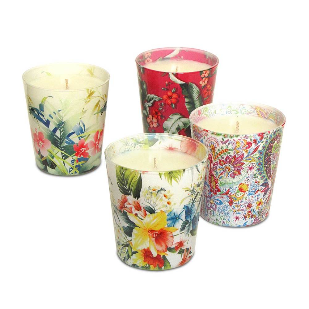 Tropical Floral Candles