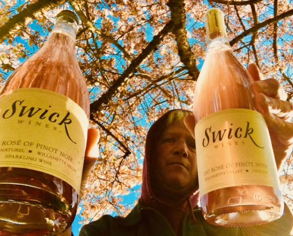 - Swick sparkling rose' of pinot and still pinot rose'.  Bring it.