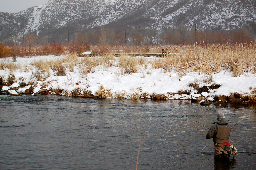 Winter Fishing, middle Provo River, Park City, Utah