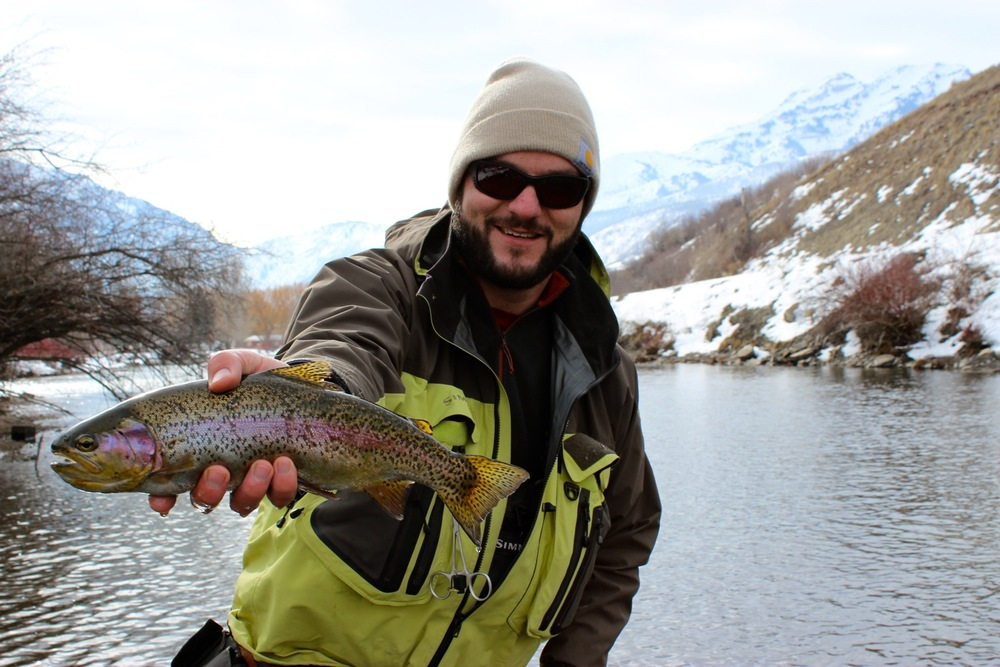 Jimmy with a rainbow trout, lower Provo River