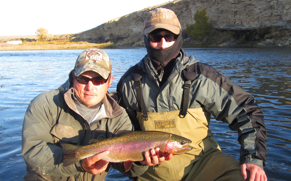 Jeff and Michael with a rainbow trout, Wyoming fly fishing