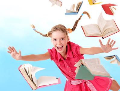 Schoolgirl and books