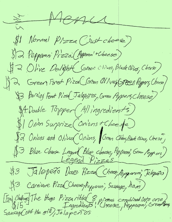 Handwritten menu