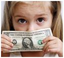 Little girl with dollar