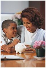 Mom and son saving money