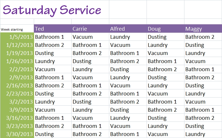 roommate chore chart excel