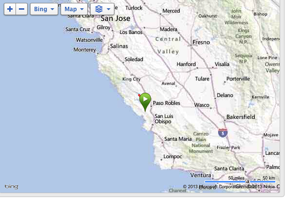 The middle of nowhere.  The green arrow is a bit deceiving.  It's more North of Paso Robles.
