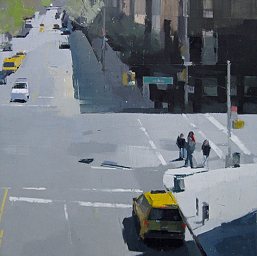 From the High Line 2012 (24x24 oil and pencil on panel) by Lisa Breslow