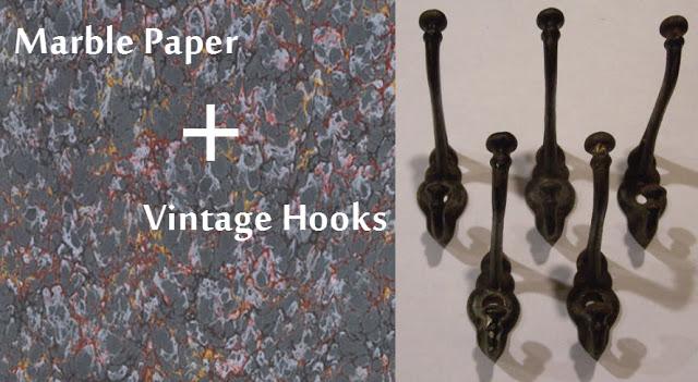 My Take: Marble Paper ( Dick Blick ) + Vintage Hooks ( TsVintageWares@Etsy )
