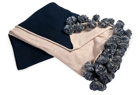 Alpaca Pom Pom Throw - Navy and Beige  - $389