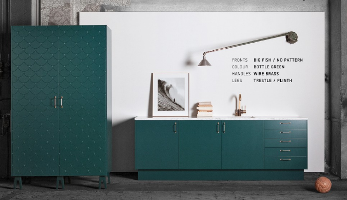 A Superfront Kitchen And PAX Wardrobe In Bottle Green. (via Superfront.com)