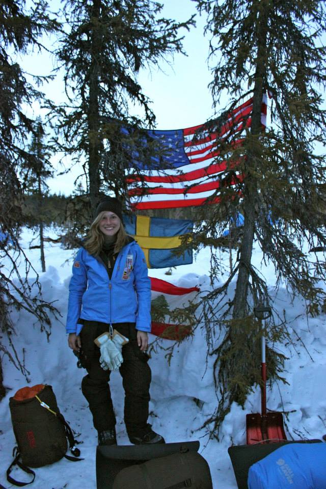 Me, showing off Camp Sweden-USA's snow shelter at Sevvovouma. (Photo by Hana Chatila. All rights reserved.)