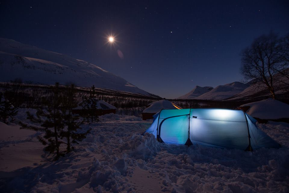 A starry sky over our campsite, at Camp Tamok, on Day 2 of Fjällräven Polar-- the first night we participants will spend in tents.
