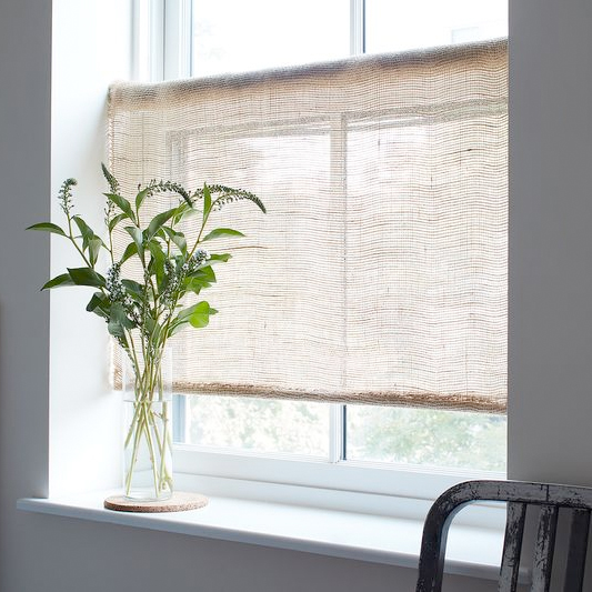 FOOD 52  For Soft Light (and Farmhouse Vibes), DIY Rustic Burlap Roller Shades