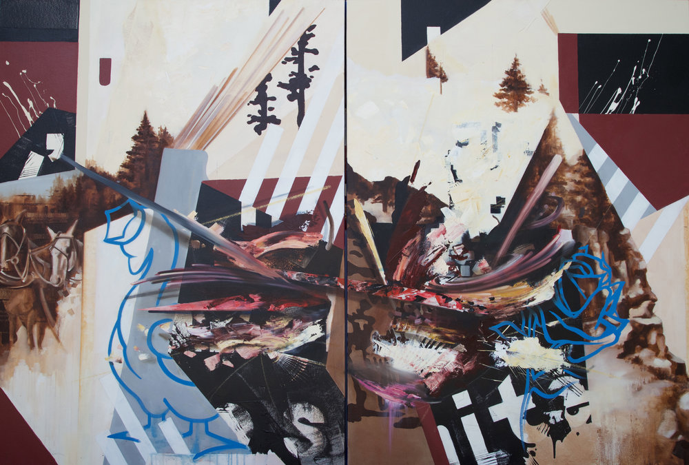 "The Golden Goose has a Rose... || Oil on Canvas (diptych)|| 48"" x 72"""