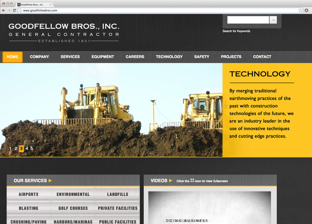Previous website designed for Goodfellow Bros.