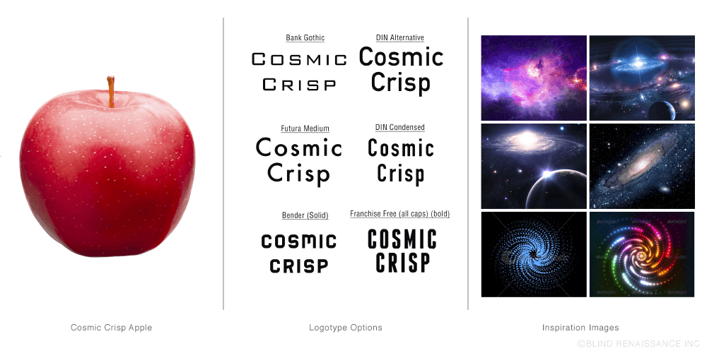 "The name Cosmic Crisp was the most popular name choice among focus group surveys conducted by Washington State University.   The ""dots"" you see on the apple above have the appearance of stars in space.   Hence the name Cosmic Crisp."