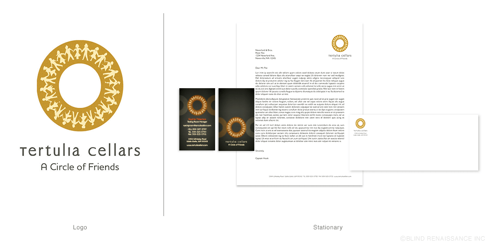 Logo layout for stationary. Intersecting circles on the business card tie-in with the logo.