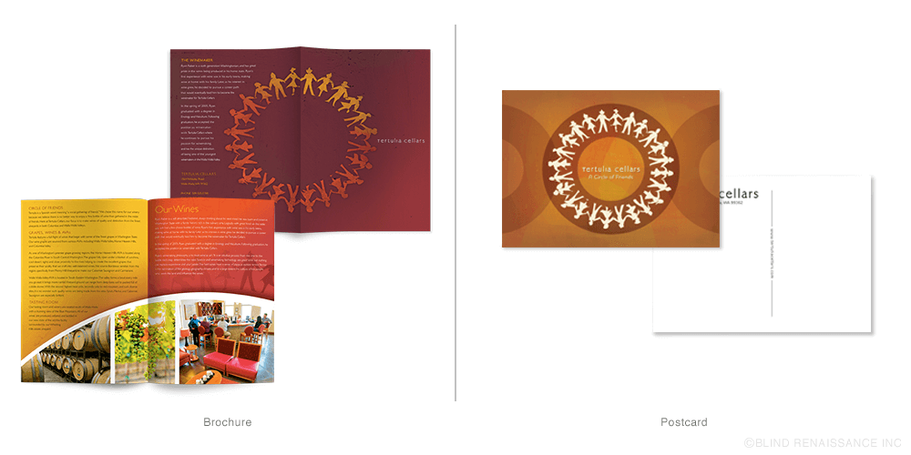 Colorful brochures with faux texture add emphasis to the circle of friends icon. Postcards use texture and intersecting circles like the business cards.
