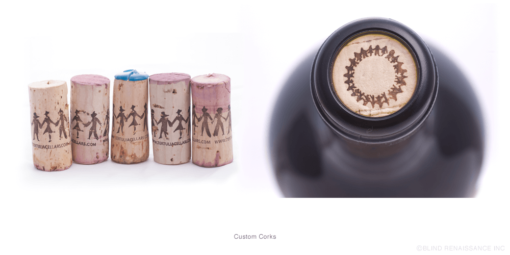 Cork design functions while in the bottle (top view) and after it is been taken out (side view).
