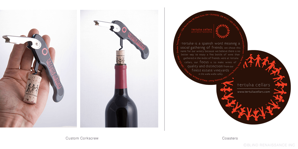 Branded corkscrew and coasters help support the Tertulia Cellars brand.